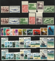 Lot 405:1963 Scenes (2 sets one CTO), 1969 Picts, 1976 Ships (2 sets), 1982 Anniv (10 sets in sheet) Retail approx $130. (98)