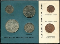 Lot 110 [1 of 2]:Australia: Group incl 1966 1c & 2c Green card, 1984 $1 (2, one bubble pack, one cased proof), also 1988 $5 Parliament House, 1990 $5 ANZAC & 1988 Halley's Comet medallion. (7 items.)