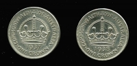 Lot 152:Australia: 1937 & 1938 KGVI Sterling Silver Crowns. (2)