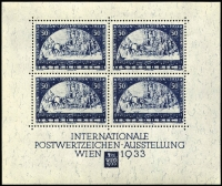 Lot 4 [1 of 2]:Austria 1933 WIPA M/S each with '1981 Facsimile' on reverse. (150+)