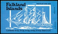 Lot 8 [3 of 4]:Booklets : Falkland Islands 1977 Jubilee, 1978 Ships £1 blue-green cover, 1979 Ships £1 bright-blue cover (8), 1980 £1 red cover, 1982 £1 Grey cover (5), 1985 £2.24 pale blue (4), 1988 £2.52 grey cover & contents CTO, 1988 £2.52 light green cover. SG SB1-8 range. Cat approx £230. (22)