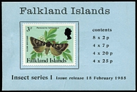 Lot 8 [4 of 4]:Booklets : Falkland Islands 1977 Jubilee, 1978 Ships £1 blue-green cover, 1979 Ships £1 bright-blue cover (8), 1980 £1 red cover, 1982 £1 Grey cover (5), 1985 £2.24 pale blue (4), 1988 £2.52 grey cover & contents CTO, 1988 £2.52 light green cover. SG SB1-8 range. Cat approx £230. (22)