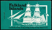Lot 8 [1 of 4]:Booklets : Falkland Islands 1977 Jubilee, 1978 Ships £1 blue-green cover, 1979 Ships £1 bright-blue cover (8), 1980 £1 red cover, 1982 £1 Grey cover (5), 1985 £2.24 pale blue (4), 1988 £2.52 grey cover & contents CTO, 1988 £2.52 light green cover. SG SB1-8 range. Cat approx £230. (22)