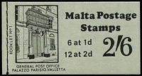 Lot 11 [1 of 4]:Booklets : Malta 1970 (16 May) 2/6d (17), (18 May) Black on pink cover 2/6d (26), 1971 2/6d green cover (16), 5/- (17). (76)