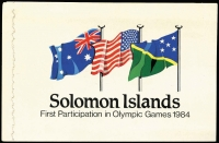 Lot 13 [3 of 3]:Booklets : Solomon Islands 1959 4/- buff cover, stapled at right, 1984 Olympic Games $3.95 Booklets (8). Retail A$255. (9 booklets)