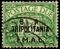 Lot 24 [1 of 2]:British Occupation Of Italian Colonies - Tripolitania 1950 Postage Due Opts 1l on ½d, 2l on 1d, both fine used, 6l on 3d & 24l on 1/- MLH, . Scarce. (4)