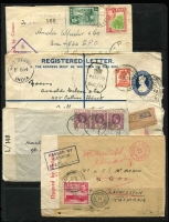 Lot 23 [1 of 4]:Cover Accumulation 1900s-70s incl China few large 1950s commercial covers (incl 5 approx 33mm x 24mm) to Australia, WWII Censored covers from Ceylon, Colombia, Egypt, Hungary, Ireland NZ, Palestine & USA, GB incl 1970s parcel tag with £5.20, India, Israel, New Guinea, New Zealand, PNG 1977 Bank envelope to Vic, Tonga, also few stationery items mostly unused incl few aerogrammes from Iran, St. Tome & Principe, Venezuala, and unused envelopes from Neth. Indies. (115+)
