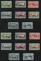 Lot 28 [2 of 2]:Falklands 1944-45 Overprints set, SG #A1-A8, B1-B8, C1-C8 & D1-D8, Cat £96. (32)