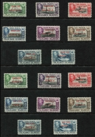 Lot 28 [1 of 2]:Falklands 1944-45 Overprints set, SG #A1-A8, B1-B8, C1-C8 & D1-D8, Cat £96. (32)