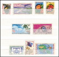 Lot 38 [2 of 3]:French Polynesia 1958-93 Collection incl 1958-60 Picts to 50f, 1962 Flowers (2), 1964 War Effort (2),1965 ITU, Gauguin 25f, Schools Canteen Art (both), etc. Generally fine. Cat far in excess of £600. (160+)