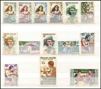 Lot 38 [3 of 3]:French Polynesia 1958-93 Collection incl 1958-60 Picts to 50f, 1962 Flowers (2), 1964 War Effort (2),1965 ITU, Gauguin 25f, Schools Canteen Art (both), etc. Generally fine. Cat far in excess of £600. (160+)
