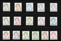 Lot 63 [3 of 5]:Netherlands 1940-47 Queen Wilhelmina to 60c (ex 6c), also imperf unofficial productions [see note after SG515b], 1947-48 Queen 45c blue, 1946 Relief Fund Rembrandt (ex 2c+3c), 1969-76 Queen (19, 25c used), 1989-2006 selection of Queen Beatrix issues incl peel & stick, coils, to 10g or €3, also selection of panes of 5 with a face value of €110+ (A$160), range of 1989-94 Machine labels, 1996 Framas, International Court of Justice 1989-94 (15). (100s)