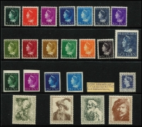 Lot 63 [1 of 5]:Netherlands 1940-47 Queen Wilhelmina to 60c (ex 6c), also imperf unofficial productions [see note after SG515b], 1947-48 Queen 45c blue, 1946 Relief Fund Rembrandt (ex 2c+3c), 1969-76 Queen (19, 25c used), 1989-2006 selection of Queen Beatrix issues incl peel & stick, coils, to 10g or €3, also selection of panes of 5 with a face value of €110+ (A$160), range of 1989-94 Machine labels, 1996 Framas, International Court of Justice 1989-94 (15). (100s)