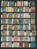 Lot 48 [2 of 5]:Portugal 1850s-1985 Collection on 45+ Hagners incl 1853 25r blue, few King Pedro, many King Luis imperf to 120r & perf to 300r, various 1895-1905 to 300r, 1898 Da Gama (8), range of 'REPUBLICA' opts, Ceres with & without imprint, 1924 Cameons (31), 1931-38 1E60 blue (MLH), 1949 Centenaries M/S, 1950 Holy Year (4), 1952 NATO (2), MUH M/Ss incl 1974 UPU, 1980 Lubrapex, 1981 & 1982 Europa. Inspection recommended. Very high catalogue value. Condition throughout is very mixed. (100s)