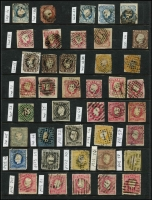 Lot 48 [1 of 5]:Portugal 1850s-1985 Collection on 45+ Hagners incl 1853 25r blue, few King Pedro, many King Luis imperf to 120r & perf to 300r, various 1895-1905 to 300r, 1898 Da Gama (8), range of 'REPUBLICA' opts, Ceres with & without imprint, 1924 Cameons (31), 1931-38 1E60 blue (MLH), 1949 Centenaries M/S, 1950 Holy Year (4), 1952 NATO (2), MUH M/Ss incl 1974 UPU, 1980 Lubrapex, 1981 & 1982 Europa. Inspection recommended. Very high catalogue value. Condition throughout is very mixed. (100s)