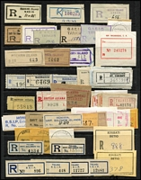 Lot 62 [2 of 5]:Registration Labels - World Selection on 45+ Hagners with much duplication in some cases incl Argentina, Chile, Fiji, GB (London & Provinces), Germany, Indonesia, Ireland, Israel, Kenya, Malta, Mexico, Ocean Island, Peru, Pitcairn Islands, Singapore, South Africa, Tanganyika, Thailand, Zambia, etc, also several covers (9) incl Nauru with scarce red rouletted label on 1938 cover. Generally fine. (1,000s)