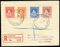 Lot 62 [3 of 5]:Registration Labels - World Selection on 45+ Hagners with much duplication in some cases incl Argentina, Chile, Fiji, GB (London & Provinces), Germany, Indonesia, Ireland, Israel, Kenya, Malta, Mexico, Ocean Island, Peru, Pitcairn Islands, Singapore, South Africa, Tanganyika, Thailand, Zambia, etc, also several covers (9) incl Nauru with scarce red rouletted label on 1938 cover. Generally fine. (1,000s)