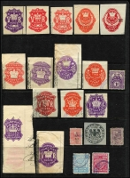 Lot 51 [2 of 2]:Revenue Collection incl New Zealand Stamp Duty various to £100, also 1913-25 2/- blue optd 'OFFICIAL', South Australia various KEVII 1d (2) to 5/-, Victoria selection of QV impressed types to 11/-, etc. Mixed condition. (50+)