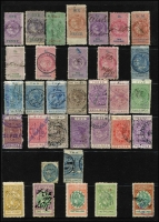 Lot 51 [1 of 2]:Revenue Collection incl New Zealand Stamp Duty various to £100, also 1913-25 2/- blue optd 'OFFICIAL', South Australia various KEVII 1d (2) to 5/-, Victoria selection of QV impressed types to 11/-, etc. Mixed condition. (50+)