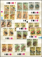 Lot 54 [1 of 2]:Solomon Islands Collection 1975-87 in Chinese stockbook incl 1972-73 $5 Bird, 1979-83 Reptiles (no imprint at base 2 sets), 1982 Sanford's Eagle (2 sheets & 2 strips of 5), 1984 Ausipex (4 & M/S), Olympic Games Booklets (2), 1987 Flowers to $5 (2 sets), with 2 or 3 sets of many commem issues incl M/Ss. Face value stated to be $380. (100)