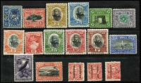 Lot 81:Tonga 1895 Surcharges ½d on 2½d, 1d on 2½d & 7½d on 2½d, (1d has 'BU' joined [R1/1]) SG #29-31, 1897 Pictorials set (14) 2d is sepia & bistre shade Type II SG #41. Hinge remains. (17)