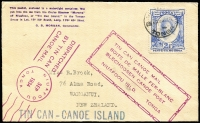Lot 58 [1 of 9]:Tonga 1935-74 Tin Can Mail Collection with numerous coloured cachets in many languages, plus various passenger ship cachets incl 'Marama', and the more common types incl 'Manowai' (with blue or violet ship cachet), 'Maunganui', and later liners the 'Mariposa' & 'Monterey', also 1938 inward cover from USA and 1984 Royal Viking Star cover with 'Posted at Tin-can Is' in blue crossed out beside 2 line cachet 'No mail collection/available at Island'. Interesting lot. Condition is very mixed. (80+)