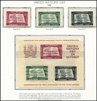 Lot 82 [1 of 3]:United Nations Geneva, New York & Vienna Collection in 2 albums/stockbooks with sheetlets ( ** & CTO), many se-tenant blocks, M/Ss, 'Flag' sheetlets (MUH & CTO). New York 1951-85 incl 1955 M/S (MUH, minor blemish), numerous issues throughout from all 3 Centres. Generally fine. (100s)