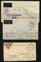 "Lot 97 [2 of 2]:WWII Censored Covers to Australia incl 1940 from Switzerland (2), 1941 covers (4) from Johore or Straits Settlements with '25 CENTS' or '025 CENTS' impressions, 1945 (Oct 15) cover with mss ""Liberated/POW Officer"" and 'PASSED FREE' slogan type cancel, also cover with '3d AirFeePaid/H.M. TRANSPORT' cachet partially obscured by KGVI 3d adhesive. Also few PPCs, plus 1925 Migration Office, Australia House, London Certificate of Identity, 1948 AAT cover with 'Australian National Antarctic/Research Expedition 1947' cachet. Mixed condition. (20+ items)"