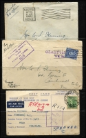"Lot 97 [1 of 2]:WWII Censored Covers to Australia incl 1940 from Switzerland (2), 1941 covers (4) from Johore or Straits Settlements with '25 CENTS' or '025 CENTS' impressions, 1945 (Oct 15) cover with mss ""Liberated/POW Officer"" and 'PASSED FREE' slogan type cancel, also cover with '3d AirFeePaid/H.M. TRANSPORT' cachet partially obscured by KGVI 3d adhesive. Also few PPCs, plus 1925 Migration Office, Australia House, London Certificate of Identity, 1948 AAT cover with 'Australian National Antarctic/Research Expedition 1947' cachet. Mixed condition. (20+ items)"