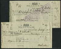 Lot 87 [1 of 8]:World incl Australia cover group with few Qld ½d QV wrappers (2) to NZ, Victorian Stationery cards from local Councils or Gov't Depts (7), 100s of QE pre-decimal stationery cut-outs 3d, 3½d, 4d, 5d, small box with postmarks on piece, few 'Tax' markings, also 1889 & 1902 Receipts from the Powder Magazine, (mss) Bendigo, Indonesia, Netherlands & Colonies (all MUH) incl few booklets, Suriname 1972 Moths & Butterflies (13), also Australian Postmarks & Slogans 1917-1979 by D. Wallen, O.B.E. Mixed condition. (Approx 50 covers & 100s of cutouts )