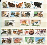 Lot 99 [2 of 4]:World In 8 Large Chinese Stockbboks in archive box incl Albania, Angola many recent birds, animals, Arab States, Channel Islands, Laos, New Zealand, Nicaragua, Norway, Romania, Russia, etc. also thematic interest with numerous cat stamps. Mixed condition. HEAVY LOT - BUYER TO REMOVE. 15.5kg (1,000s)