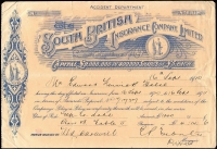 Lot 114 [2 of 5]:Australia 1879-1925 Receipts: several illustrated, cheques, several with Duty stamps affixed, Qld with 1925 share certificate transfer with KGV £1/5/- [6d, 2/-, 2/6d & 10/- (2)], Tas, Vic 1885 Telegram form with Hamilton 'Belt & Buckle' ds, New Zealand 1878-1922 receipts, renewal receipts, pay-in slips, cheques, 1911 Telegram form from New Plymouth with 'COLLECT &(mss) 6d', etc. Generally fine. (24 items)