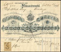 Lot 114 [1 of 5]:Australia 1879-1925 Receipts: several illustrated, cheques, several with Duty stamps affixed, Qld with 1925 share certificate transfer with KGV £1/5/- [6d, 2/-, 2/6d & 10/- (2)], Tas, Vic 1885 Telegram form with Hamilton 'Belt & Buckle' ds, New Zealand 1878-1922 receipts, renewal receipts, pay-in slips, cheques, 1911 Telegram form from New Plymouth with 'COLLECT &(mss) 6d', etc. Generally fine. (24 items)