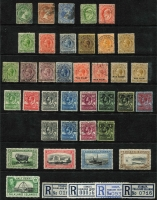 Lot 381 [1 of 3]:QV-QEII Collection Incl QV ½d, 1d & 2½d, KEVII ½d,1d, KGV various ½d to 1/-, 1918 War Stamp 1d (2), 1/- (2), 1929-37 KGV Whale/Penguins to 2/- (incl 1/- shades, ex 4d), 1933 Picts to 2d, 1935 Jubilee (2 sets), 1949 UPU (2 sets), 1952 Picts to 10/- (ex 1/3d & 5/-), also few covers incl 1937 Coronation set on registered locally addressed cover, few 1960s-80s FDCs, etc. Generally fine. (80+ & 9 covers.)
