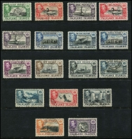 Lot 382 [2 of 2]:1938-50 Pictorials to £1 used (2½d Bird, 6d black ship MLH). SG #146-63, Cat £280++. (18)