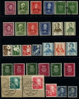 Lot 365 [2 of 3]:1949-56 Selection incl 1949 Parliament (2, on pieces with FD cancels), Stamp Centenary set (30pf MLH), UPU (2), Relief Fund (3 sets, one MLH), 1951 Bach (3 sets), 1951 St. Mary's Chuch (2 sets, one with 10pf MLH), Stamp Exhibition (2), Relief Fund (4, on pieces), Röntgen (2, one on piece), 1952 Youth Hostel, 1953 Transport Exhib (2 sets, one used). Cat €1,700+ (80)