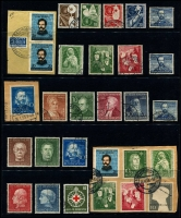 Lot 365 [3 of 3]:1949-56 Selection incl 1949 Parliament (2, on pieces with FD cancels), Stamp Centenary set (30pf MLH), UPU (2), Relief Fund (3 sets, one MLH), 1951 Bach (3 sets), 1951 St. Mary's Chuch (2 sets, one with 10pf MLH), Stamp Exhibition (2), Relief Fund (4, on pieces), Röntgen (2, one on piece), 1952 Youth Hostel, 1953 Transport Exhib (2 sets, one used). Cat €1,700+ (80)