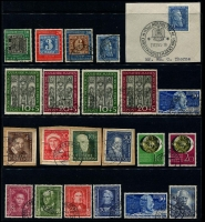 Lot 365 [1 of 3]:1949-56 Selection incl 1949 Parliament (2, on pieces with FD cancels), Stamp Centenary set (30pf MLH), UPU (2), Relief Fund (3 sets, one MLH), 1951 Bach (3 sets), 1951 St. Mary's Chuch (2 sets, one with 10pf MLH), Stamp Exhibition (2), Relief Fund (4, on pieces), Röntgen (2, one on piece), 1952 Youth Hostel, 1953 Transport Exhib (2 sets, one used). Cat €1,700+ (80)