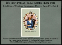Lot 1933 [2 of 3]:1981 British Philatelic Exhibition souvenir sheetlet with Charles & Di, (140, all numbered on reverse), 1982 Stampex 82 souvenir sheetlet with World Cup/Commonwealth Games rough sketches by Robert Goldsmith of GB Sports stamps (600). (740)