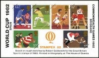 Lot 1933 [1 of 3]:1981 British Philatelic Exhibition souvenir sheetlet with Charles & Di, (140, all numbered on reverse), 1982 Stampex 82 souvenir sheetlet with World Cup/Commonwealth Games rough sketches by Robert Goldsmith of GB Sports stamps (600). (740)