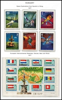 Lot 474 [1 of 3]:1965-90 Collection in 3 albums with many issues incl 1966 Paintings (7 & M/S), 1967 Air (2 strips of 4 & 2 M/Ss), 1972 Football sheetlet of 8, Olympics (8 & M/S), 1973 Treasures (4 & M/S), 1974 Peace Conference M/S, Aerofila (4 & M/S), Nudes (7 & M/S), 1975 Air M/S & similar sheet with blue frame [see note in SG], Apollo-Soyuz (7 & M/S), Stamp Day (strip of 4 & M/S), 1977 Rubens M/S, Danube Commission M/S, 1978 Mosaics, etc. Sone partially adhering to pages. Cat £850++. Much thematic interest. HEAVY LOT 4.2kg. (100s)