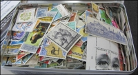 Lot 77:World 250g off-paper with many better stamps. No Australia. (100s)