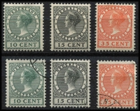 Lot 485:1924 International Philatelic Exhibition the Hague 2 sets, one lightly mounted mint and one fine used. Main Xref290-92, . (6)