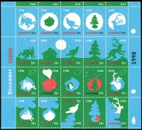 Lot 490 [1 of 3]:1990-99 Christmas sheetlet accumulation incl 1990-92 (3 sheets of each, incl one of each, CTO), 1998 Greetings (3 sheets, incl one CTO), 1998-2000 (3 sheets of each, incl one of each CTO), 2006 Christmas sheet & Charity stamps, also 1993 sheet MUH. Cat £430+. (24)