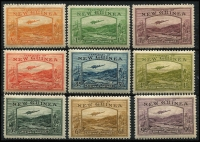 Lot 1339 [3 of 3]:1939 Bulolo Airs ½d to £1 set, (½d to 2/- MLH [6d with thin]), 5/-, 10/- (stain), £1 used. SG #212-25, Cat £1,000+. (14)