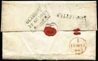 "Lot 977 [2 of 2]:1842 (Mar 9) Entire to Glasgow rated ""3d"" & ""8d"" with 'PAID SHIP LETTER/(Crown)/MA 9/1842/*SYDNEY*' handstamp in red, with single line 'SHIP LETTER' in black with London arrival cds in red & boxed 'GLASGOW/12 AU 1842' handstamp in black."
