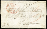 "Lot 977 [1 of 2]:1842 (Mar 9) Entire to Glasgow rated ""3d"" & ""8d"" with 'PAID SHIP LETTER/(Crown)/MA 9/1842/*SYDNEY*' handstamp in red, with single line 'SHIP LETTER' in black with London arrival cds in red & boxed 'GLASGOW/12 AU 1842' handstamp in black."