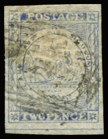"Lot 854:1851 2d Sydney Views Plate V Hard Greyish Wove Paper imperf 2d dull blue, 4 margins, with RPSV Certificate (1980) stating ""that the stamp is genuine"". SG #37, Cat £180."