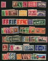 Lot 484 [2 of 2]:1930s-70s Accumulation with lightly duplicated Health issues & commems & commem issues also QV 1d pink with Ellipse flaw mint, plus cover range incl 1932 Faith in Australia covers (2, one with KGV 1d green & 6d Airmail 'OS'), 1950 C'church-Sydney, 1951 C'church to Melbourne Flights, 1967 cover to Australia with fine strike of boxed 'AIR SERVICE INTERUPTED' handstamp in red, also few 1950s-60s TPO covers. Generally fine. (Few 100 & 8 covers)