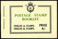 Lot 401:1954-55 Booklets 4/- SG SB20 (2, no Airmail labels), 4/- SG SB20a with Airmail labels (10), 1956 4/- SG SB21 (9), 1957 4/- SG SB22 (7). Retail A $600+. Main XrefSB20-22, 370+ (28)